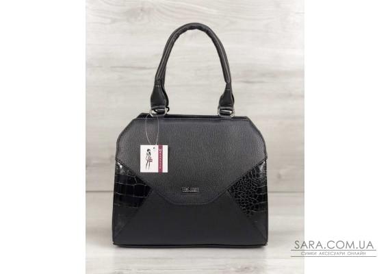 f0a9ae04618b Женская сумка Конверт черного цвета со вставкой черный лаковый крокодил  WeLassie ...