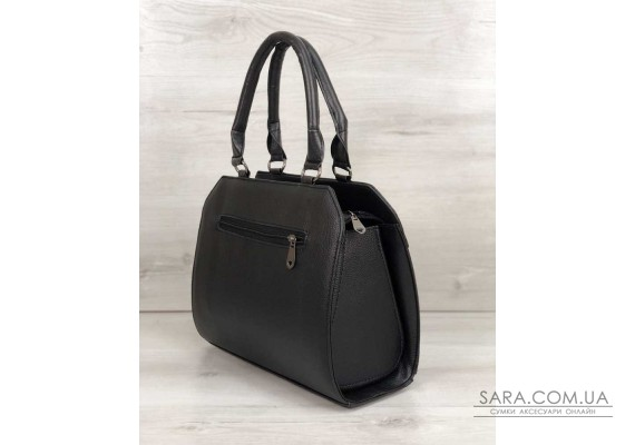 Жіноча сумка Конверт чорного кольору зі вставкою чорний лаковий крокодил WeLassie