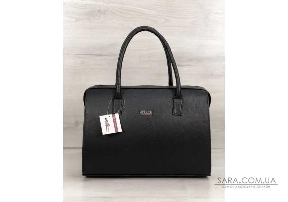 Каркасная женская сумка Саквояж черный матовый (никель) WeLassie