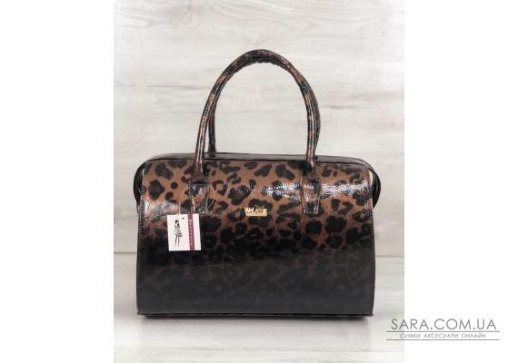 Каркасная женская сумка Саквояж лаковый леопард WeLassie