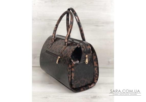 Каркасна жіноча сумка Саквояж лаковий леопард WeLassie