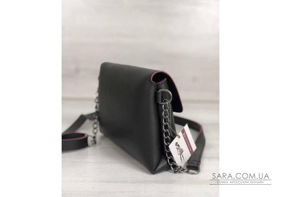 Жіночий клатч на ланцюжку Белла чорного кольору з червоним WeLassie