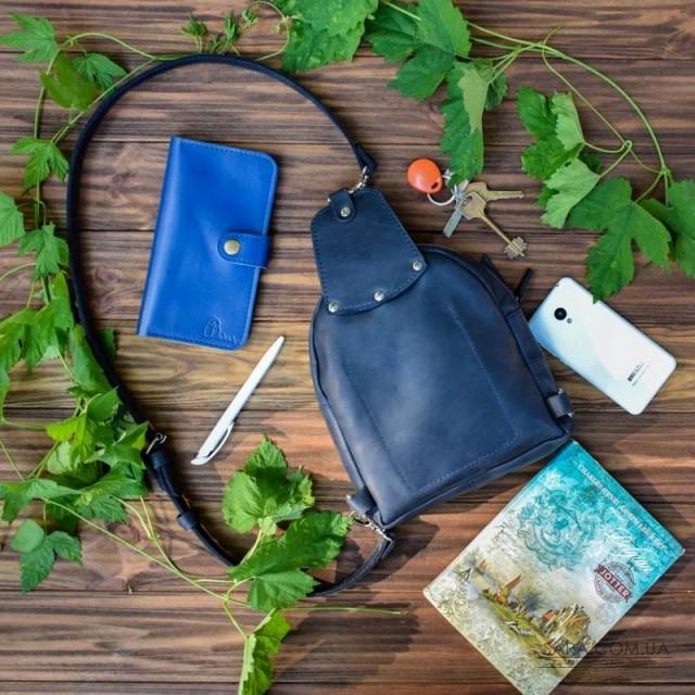 Сумка шкіряна Sling-Bag Blue 924062 Babak дешево. Handmade