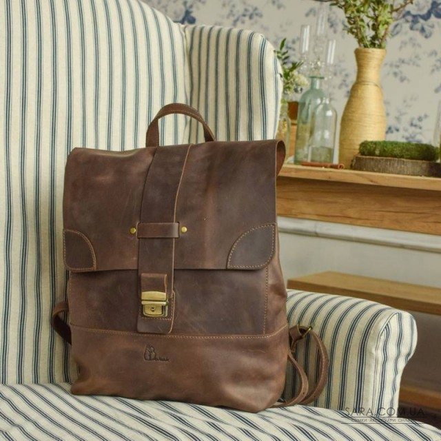 Рюкзак шкіряний Sampo Brown 895051 Babak дешево. Handmade