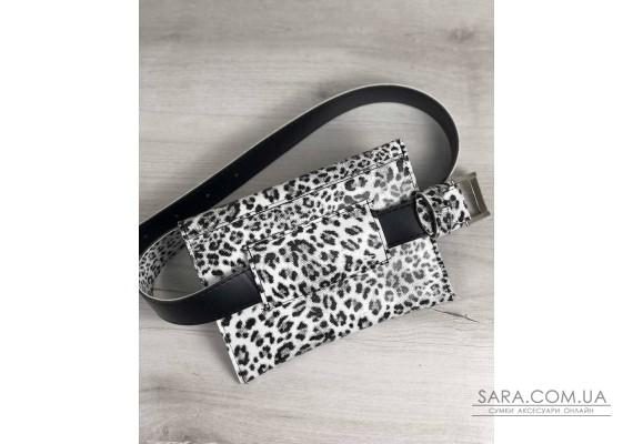 Жіноча сумка на пояс чорно-білий леопард WeLassie