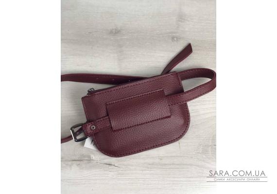 Жіноча сумка на пояс Кеті бордового кольору WeLassie