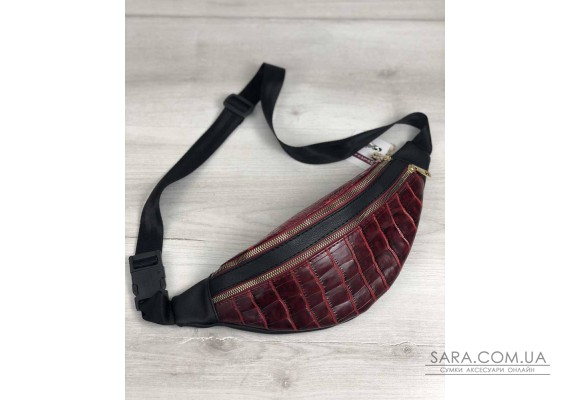 Жіноча сумка Бананка на два відділення червоний крокодил WeLassie