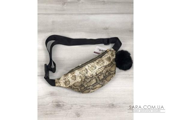 Женская сумка Бананка с пушком золотая змея WeLassie