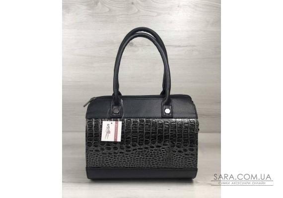 Жіноча сумка Маленький Саквояж чорного кольору зі вставкою сірий лаковий крокодил WeLassie