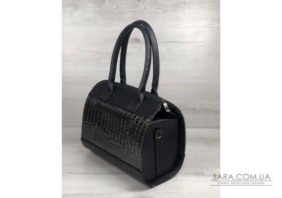 Женская сумка Маленький Саквояж черного цвета со вставкой серый лаковый крокодил WeLassie