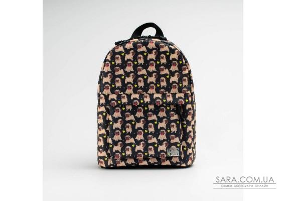 Чорний рюкзак mini з мопсами TwinsStore