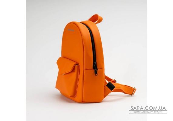 Оранжевий шкіряний (PU-шкіра) рюкзак TwinsStore