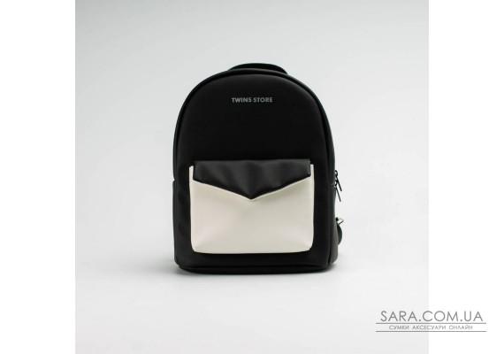 Чорно-білий шкіряний (PU-шкіра) рюкзак TwinsStore