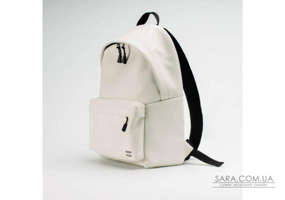 Білий шкіряний (PU-шкіра) великий рюкзак TwinsStore