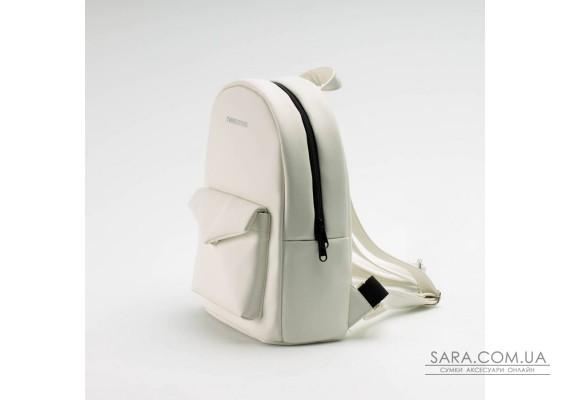 Білий шкіряний (PU-шкіра) рюкзак TwinsStore