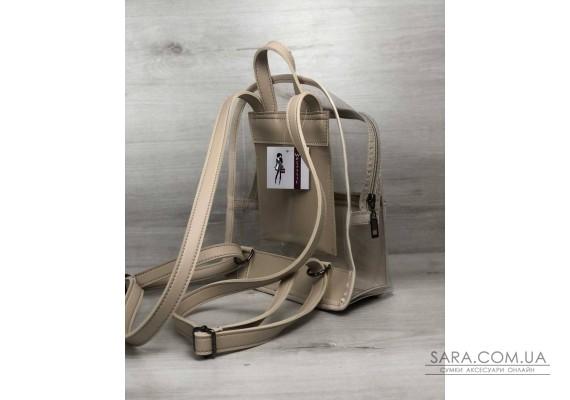 Молодежный рюкзак Бонни бежевый с силиконом (прозрачный) WeLassie