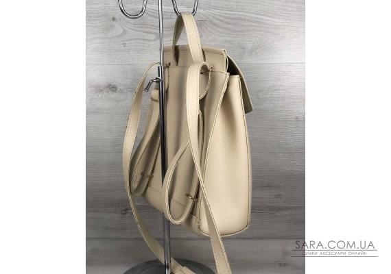Молодежный сумка-рюкзак с косичкой бежевого  цвета WeLassie