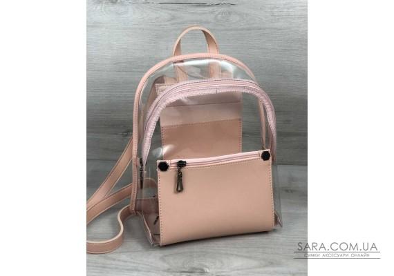 Молодежный рюкзак Бонни пудра с силиконом (прозрачный) WeLassie
