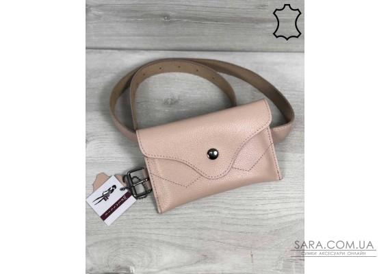 Кожаная женская сумка на пояс Pauli пудрового цвета WeLassie