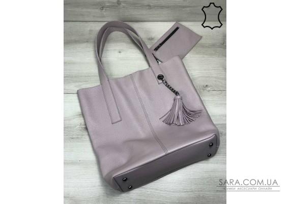 Кожаная женская сумка-шоппер Jolie фиалкового цвета WeLassie