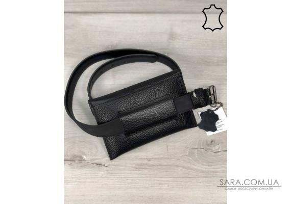 Кожаная женская сумка на пояс Pauli черного цвета WeLassie