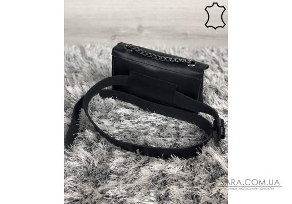 Кожаная женская сумка-клатч Leya с черного цвета с бордовым сердечком WeLassie
