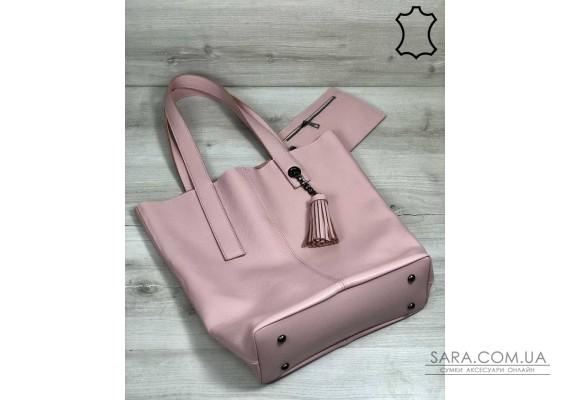 Кожаная женская сумка-шоппер Jolie пудрового цвета WeLassie