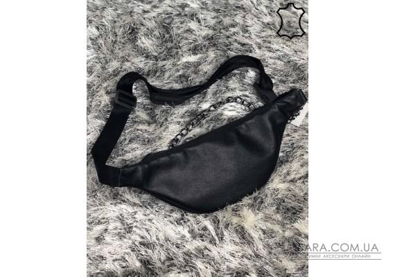 Жіноча шкіряна сумка Бананка з ланцюжком чорного кольору WeLassie