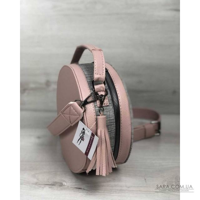 Стильна жіноча сумка Бріджит бежевого кольору зі вставкою сірий блиск WeLassie дешево