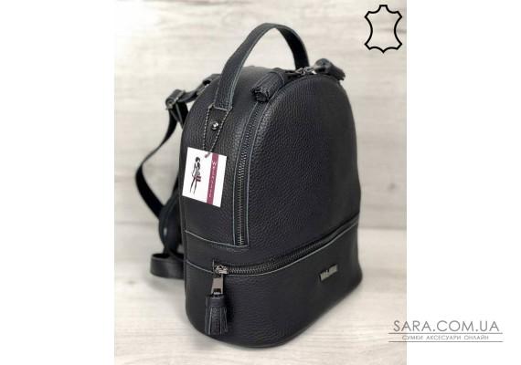 Шкіряний жіночий рюкзак Rashel чорного кольору WeLassie