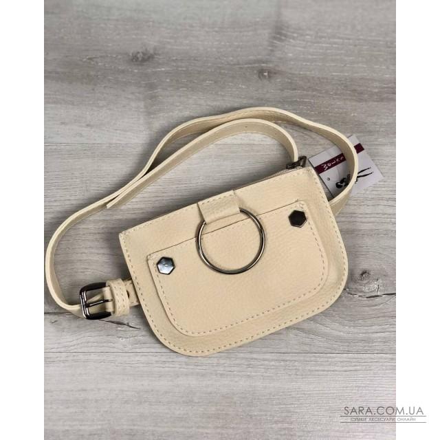 2cfac15a9f87 Женская сумка на пояс Кэти бежевого цвета WeLassie дешево