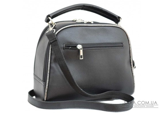 588 сумка екошкіра чорна екошкіра срібло н Lucherino