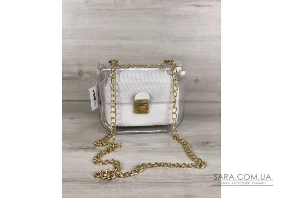2в1 Молодежная сумка Селена силиконовая с косметичкой белая рептилия WeLassie