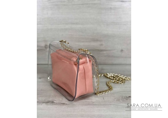 2в1 Молодежная сумка Селена силиконовая с косметичкой пудрового цвета WeLassie