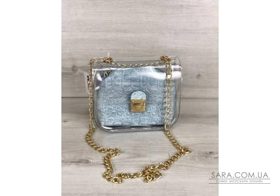 2в1 Молодежная сумка Селена силиконовая с косметичкой голубой крокодил WeLassie