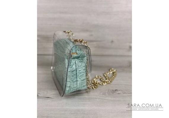 2в1 Молодежная сумка Селена силиконовая с косметичкой мятный крокодил WeLassie