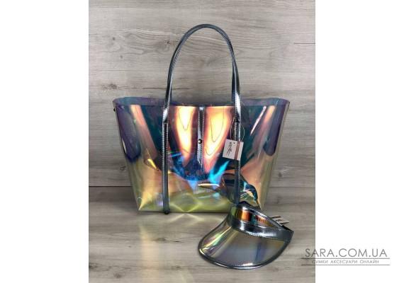 3в1 Молодіжна Перламутрова силіконова сумка і кепка з блакитним WeLassie