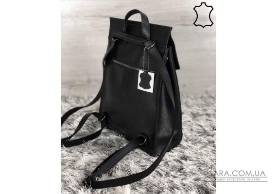 Шкіряний молодіжний сумка-рюкзак чорного кольору WeLassie