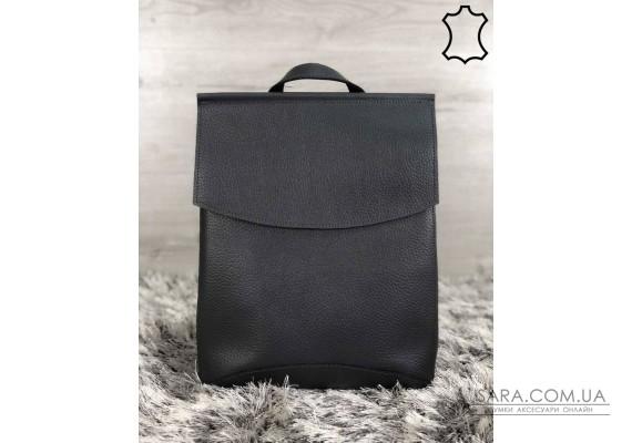 Шкіряний молодіжний сумка-рюкзак сірого кольору WeLassie