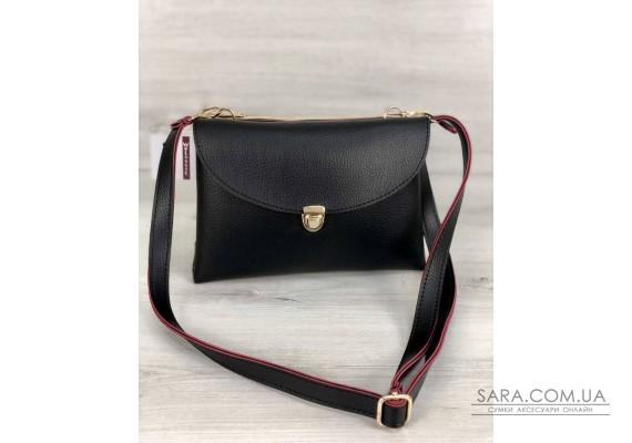 Молодежная женская сумка Виола черного с красным цвета WeLassie