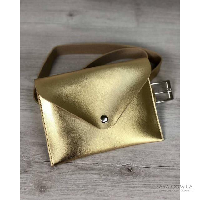 Женская сумка на пояс эко-кожа золотого цвета WeLassie дешево