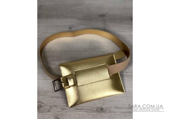 Женская сумка на пояс эко-кожа золотого цвета WeLassie