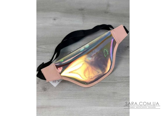Стильна жіноча сумочка Бананка перламутровий силікон з пудра (напівпрозора) WeLassie