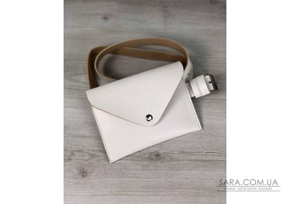 Женская сумка на пояс эко-кожа белого цвета WeLassie