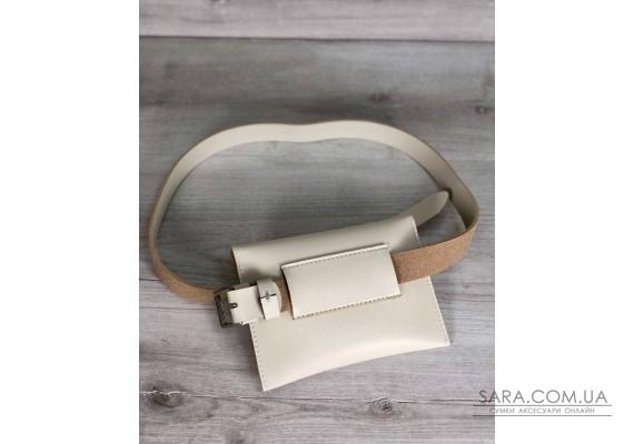 Женская сумка на пояс эко-кожа цвета слоновой кости WeLassie
