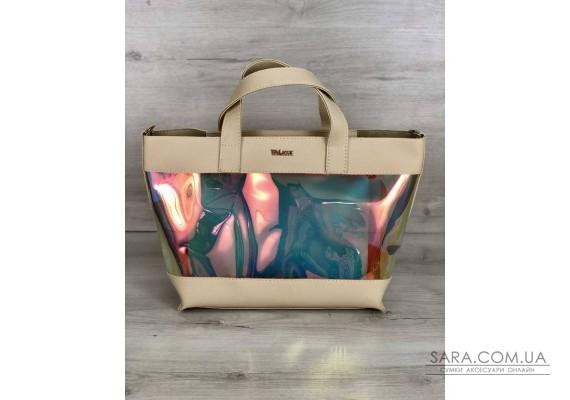 2в1 Перламутрова молодіжна сумка Аміра бежевого кольору (напівпрозора) WeLassie