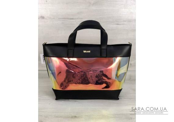 2в1 Перламутрова молодіжна сумка Аміра чорного кольору (напівпрозора) WeLassie