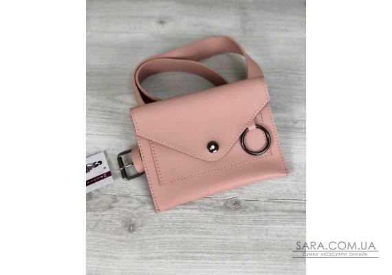Стильна жіноча сумка на пояс Moris бежевого кольору WeLassie