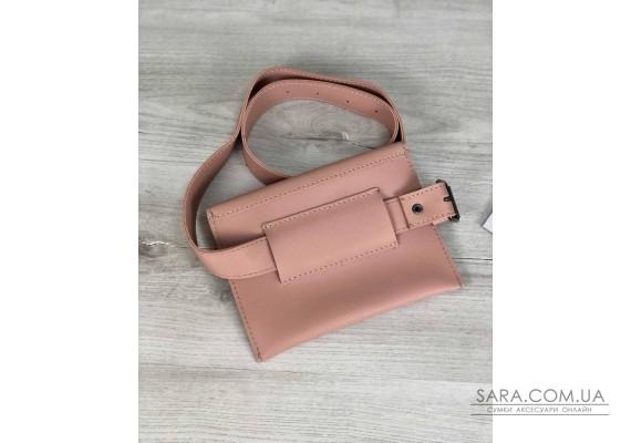 Стильная женская сумка на пояс Moris пудрового цвета WeLassie