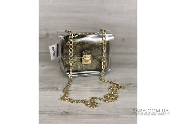 2в1 Молодежная сумка Селена силиконовая с косметичкой золото WeLassie